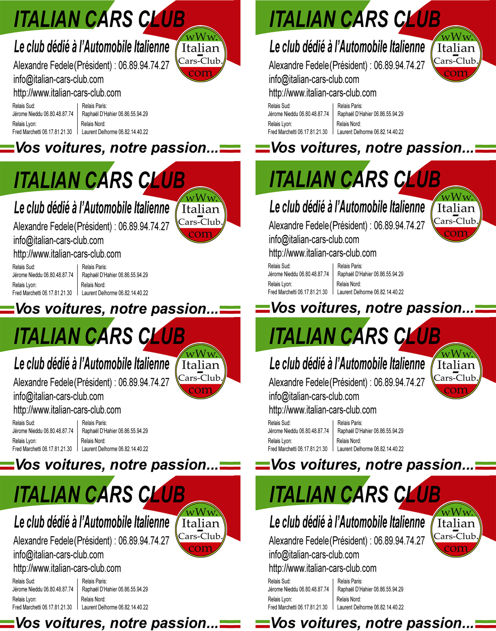 Italian Cars Club Documents Carte Visite Icc